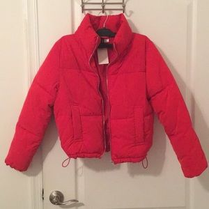 e425f4aa3a59 H M Jackets   Coats - H M Red Cropped Puffer Coat